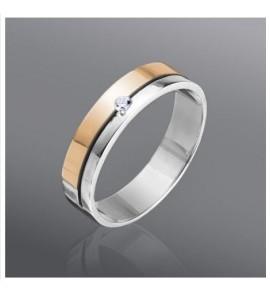 Серебряное кольцо з золотой напайкой (код 026к)