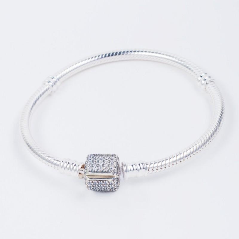 Серебряный браслет в стиле Пандора с замком с камнями (код 550001/1Б)