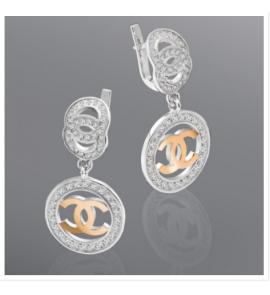 Серебряные родированные серьги Шанель (код ю003с)