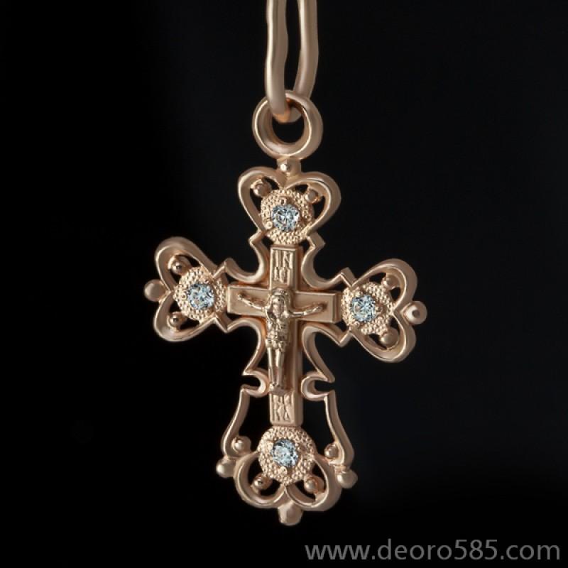 Золотой крест с камнями (код 10003)