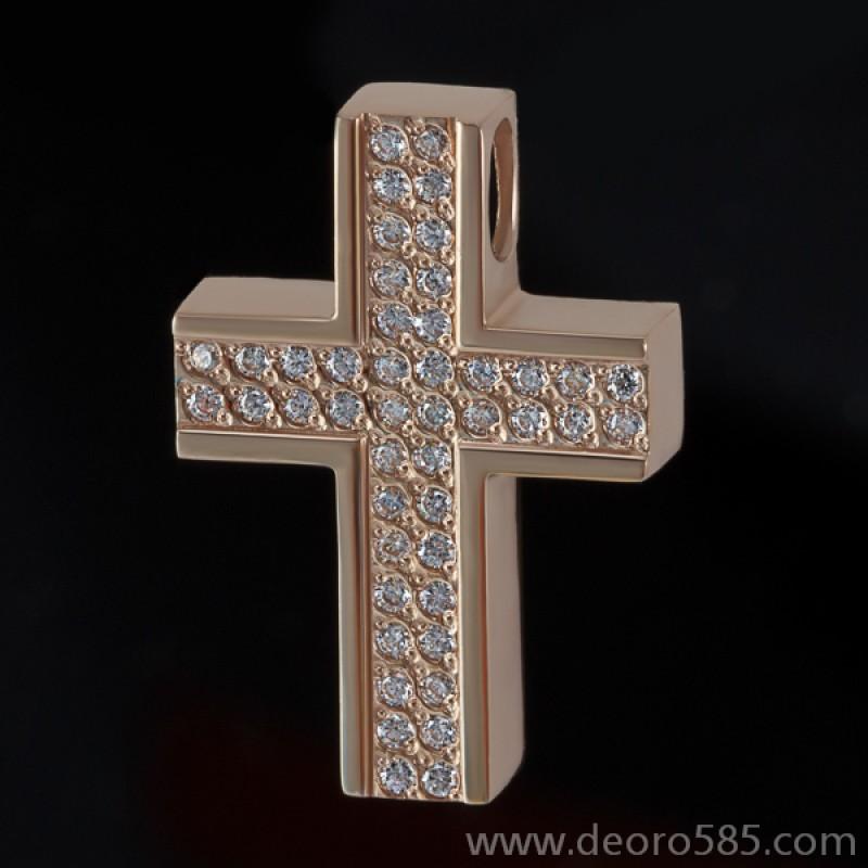 Золотой крест с камнями (код 10010)