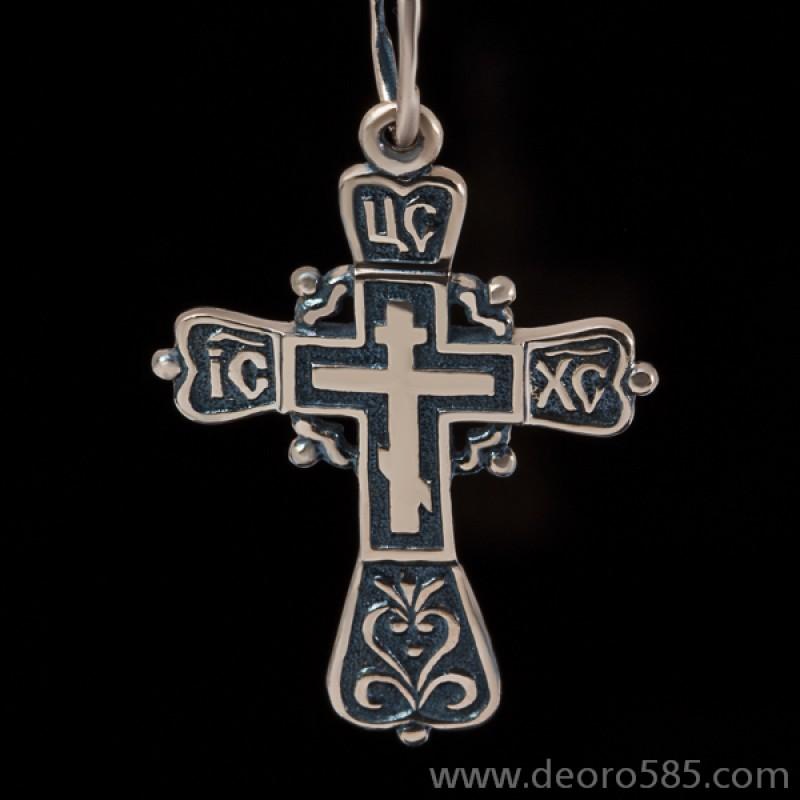 Золотой крест с чернением (код 10012)