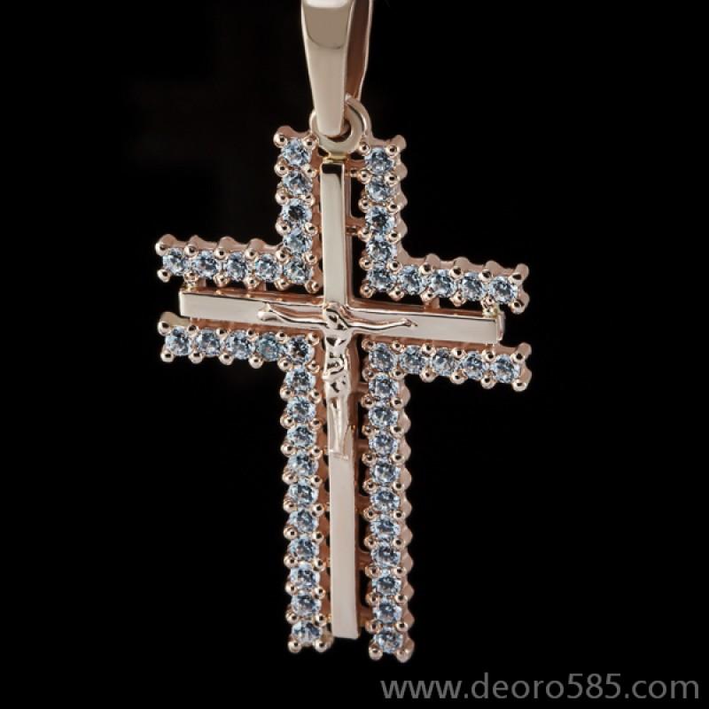 Золотой крест с камнями (код 10016)