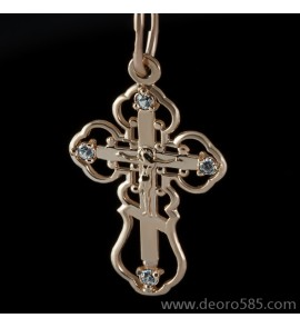 Золотой крест с камнями (код 10017)