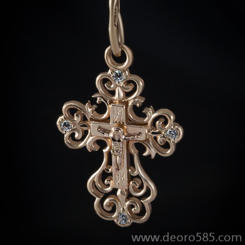 Золотой крест с камнями (код 10018)