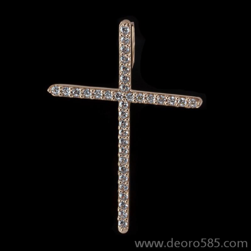 Золотой крест с камнями (код 10023)